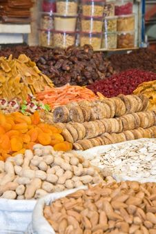 Colorful Dried Fruits And Nuts Focus On Figs Stock Photography