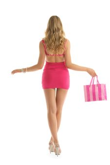 Free Beautiful Woman With Rosy Shopping Bags Stock Photography - 20693132