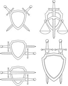 Free Set Of Emblem - Shield, Sword And Scales Royalty Free Stock Image - 20694316