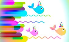 Colorful Background With Lines And Whale Royalty Free Stock Image