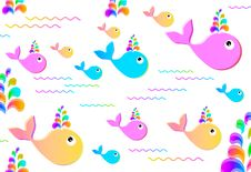 Free Colorful Background With Whales Stock Photography - 20694812