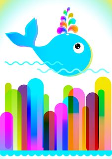 Colorful Background With Lines And Whale Royalty Free Stock Photos