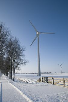 Free Wind Turbines In Winter Landscape Stock Photography - 20695922