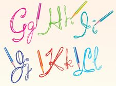 Free Color Hand Drawing Letters For Your Design, Ghijkl Stock Photos - 20696023
