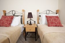 Twin Beds In A Bedroom Royalty Free Stock Images