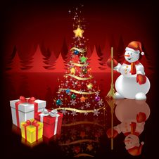 Christmas Background With Snowman And Gifts Stock Image