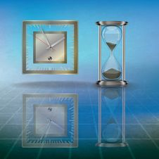 Abstract Illustration With Hourglass And Clock Royalty Free Stock Photography
