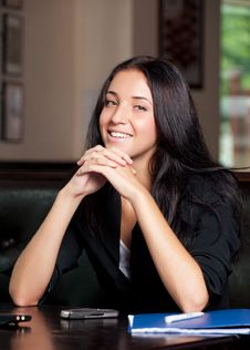Free Business Woman Sitting In A Cafe Stock Photo - 20697180