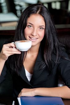 Free Business Woman With Cup Of Coffee Stock Images - 20697184