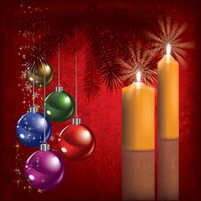Free Christmas Greeting With Decoration And Candle Stock Photos - 20697403