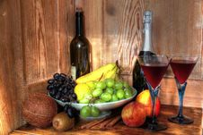 Red Wine In Glasses And Fruits. Stock Image