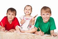 Free Three Children Drawing Stock Photos - 20698453