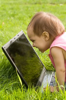 Free Baby With Laptop Stock Image - 20698831