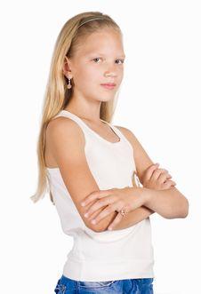 Free Little Girl On White Royalty Free Stock Photo - 20699075