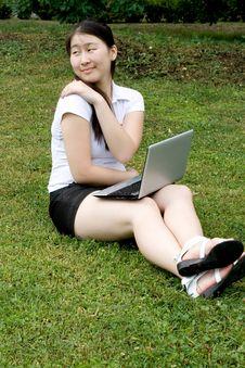 Free Girl Working On Laptop Stock Image - 20699081