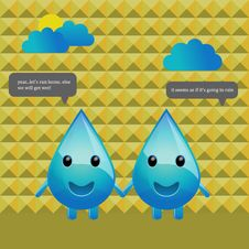 Free Character Design Water Drops Conversation Royalty Free Stock Photography - 20699147
