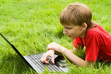 Free Young Boy With Laptop Stock Images - 20699474