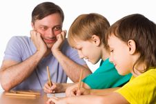 Dad Draws With Sons Stock Images