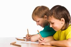 Free Two Boys Drawing Royalty Free Stock Images - 20699969