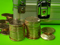 Free New Dollar Coins And Safe Box Royalty Free Stock Photo - 2076845