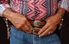 Free Cowboy Waits His Turn Stock Photography - 2070902