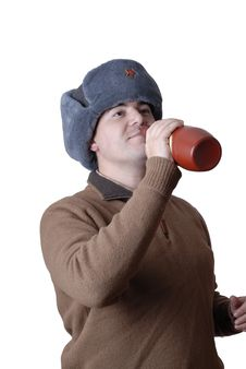 Free Man Portrait With A Russian Hat And A Red Bottle Royalty Free Stock Image - 2071186