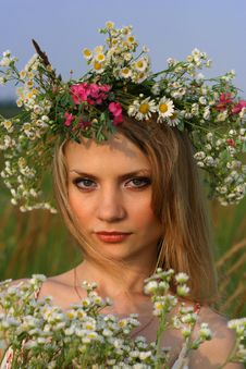 Girl With Wild Flowers Stock Images