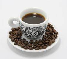 Free Cup Of Coffee With Coffee Beans Stock Image - 2072181