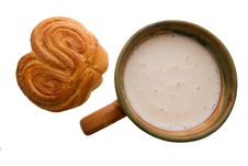 Cup Of Sour Milk With Croissant Stock Photo