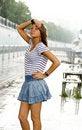 Free Girl Walking Under Rain Royalty Free Stock Photography - 20701287
