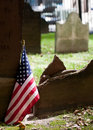 Free Graveyard With American Flag Royalty Free Stock Photo - 20704015