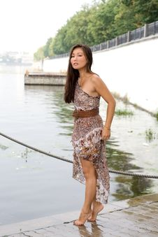 Beautiful Girl Walking Near River Stock Photography