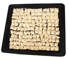 Preparing Pasta Ravioli Meat Pastry In Pan Stock Images