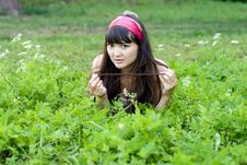 Free Pretty Girl Lying On Grass Stock Images - 20701574