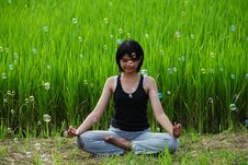 Free Girl Practicing Yoga In Paddy Field Royalty Free Stock Images - 20701739
