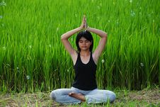 Free Girl Practicing Yoga In Paddy Field Royalty Free Stock Photography - 20701807