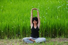 Free Girl Practicing Yoga In Paddy Field Royalty Free Stock Photos - 20701808