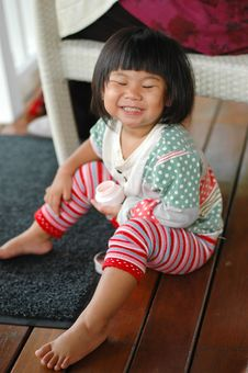 Free Little Asian Girl Smiling And Close Eye Royalty Free Stock Photography - 20701827
