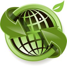 Free Globe And Green Arrows Royalty Free Stock Photography - 20702027