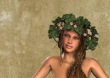 Free Flower Leaves Wreath Woman Portrait Stock Images - 20702614