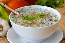 Cold Soup With Choped Vegetables And Me - Okroshka Royalty Free Stock Photography