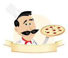Chef Pizza Restaurant Banner Royalty Free Stock Image