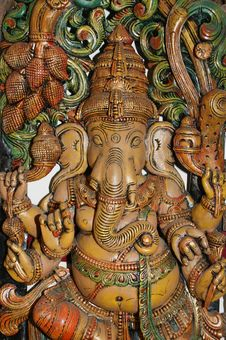 Free Wooden Sculpture Of Ganesha Stock Image - 20704711