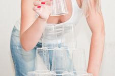 Free Design A Pyramid Of Plastic Cups Royalty Free Stock Images - 20704839