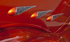 Orange Details Classic Car Stock Photo