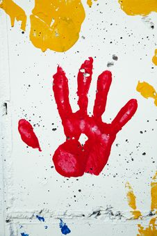 Free Child S Handprint In Red Paint Stock Photos - 20706183
