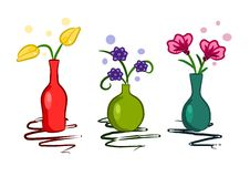 Free Three Colorful Vase With Flowers - Vector Royalty Free Stock Photography - 20707727