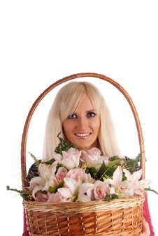 Free Girl With A Flowers Basket Royalty Free Stock Photos - 20708128