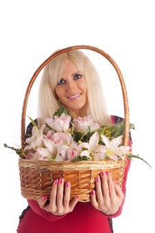 Free Girl With A Flowers Basket Stock Photo - 20708140
