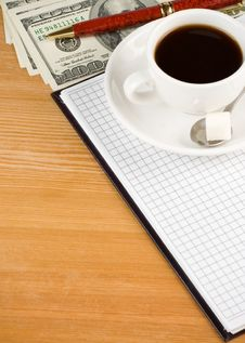 Free Cup Of Coffee And Notebook With Dollar Royalty Free Stock Image - 20708216